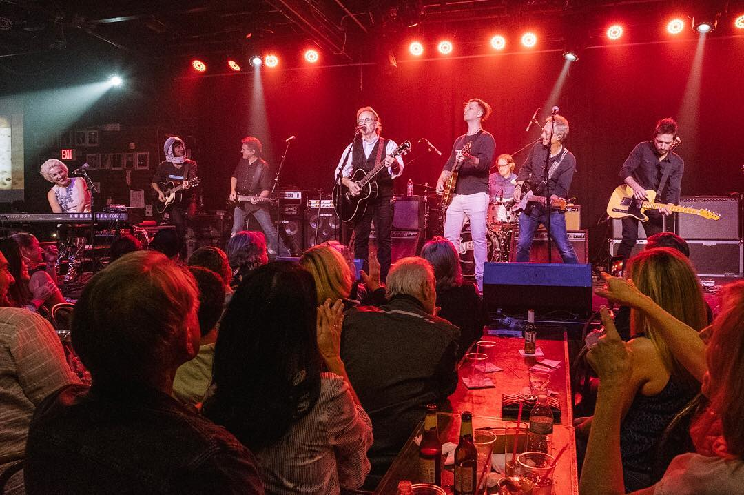 Steve Fekete Gerry Beckley Dewey Bunnell Ryland Steen and Rich Campbell of the band America performing Sandman in Nashville 2015